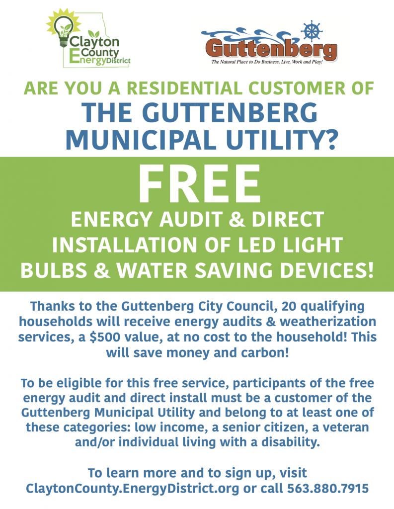 Guttenberg Utility Customers Can Sign Up for FREE Energy Audit Now and Receive it Later!